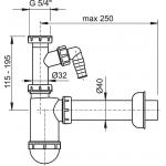 A43P Sifon pro umyvadlo s převlečnou maticí 5/4˝a přípojkou