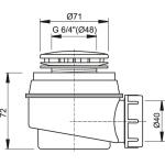 A47B/50 Sifon vaničkový bílý pr.50mm