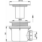 A48 AlcaPlast Sifon vaničkový s nerezovou mřížkou pr.90mm