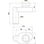 A45B Alcaplast Sifon pisoárový vodorovný
