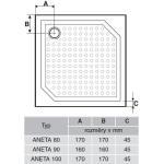 ANETA 90 GA009 Gelco Sprchová vanička čtvercová - profilovaná
