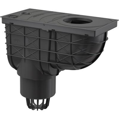 AGV1 Lapač střešních splavenin 300 × 155/110 přímý černý