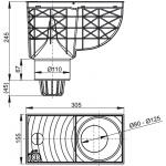 AGV1S Lapač střešních splavenin 300 × 155/110 přímý šedý