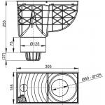 AGV2 Lapač střešních splavenin 300 × 155/125 přímý černý