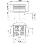 APV1 AlcaPlast Podlahová vpusť nerezová boční 105×105/50