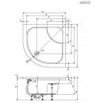 ARGO 90 R55  Teiko Sprchová vanička čtvrtkruhová