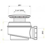 A47CR/60 AlcaPlast Sifon vaničkový chrom pr.60mm