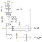 A41P AlcaPlast Sifon pro umyvadlo s nerezovou mřížkou pr.63mm apřípojkou