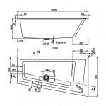 CAVALLO 160×90 L Vagnerplast Vana asymetrická s podporou