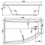 VERONELA 160×105 L Vagnerplast Vana asymetrická s podporou