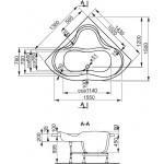 IRIS 140×140 Vagnerplast Vana rohová s podporou