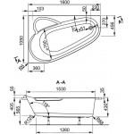 SELENA 160×105 L Vagnerplast Vana asymetrická s podporou
