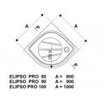RAVAK ELIPSO PRO 80 CHROME Sprchová vanička čtvrtkruhová 80 cm - bílá