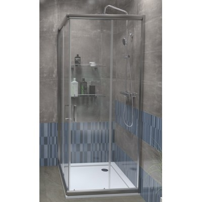 FUNY Q 80 Clear ROCKY Well Sprchový kout s vaničkou