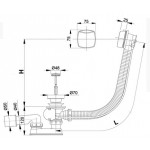 A51CR120 AlcaPlast Vanový odtokový komplet s ovládáním chrom, délka 120 cm