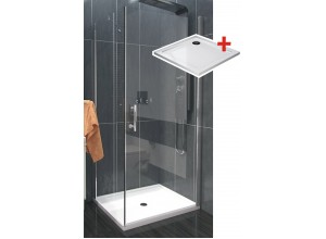 ALFA ROCKY 100 x 100 cm Clear Well Luxusní čtvercová sprchová zástěna s mramor vaničkou
