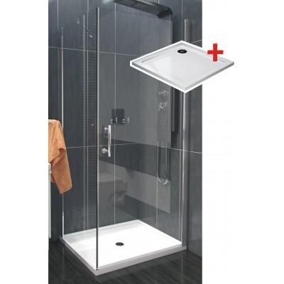 ALFA ROCKY 80 x 80 cm Clear Well Luxusní čtvercová sprchová zástěna s mramorovou vaničkou