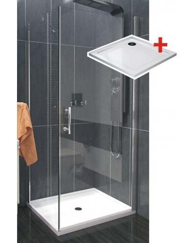 ALFA ROCKY 90 x 90 cm Clear Well Luxusní čtvercová sprchová zástěna s mramorovou vaničkou