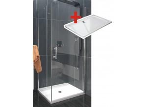ALFA ROCKY 80 x 100 cm Clear Well Luxusní sprchová zástěna s mramorovou vaničkou