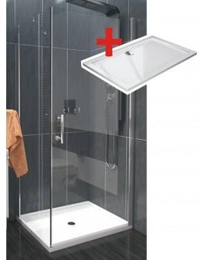 ALFA ROCKY 100 x 70 cm Clear Well Luxusní sprchová zástěna s mramorovou vaničkou