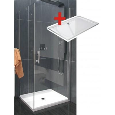 ALFA ROCKY 90 x 70 cm Clear Well Luxusní sprchová zástěna s mramorovou vaničkou