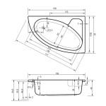 AV PRINCESS 150 x 100 Arttec akrylátová asymetrická vana