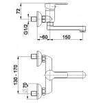 JADEIT Dřezová nástěnná vodovodní baterie, ramínko 15 cm