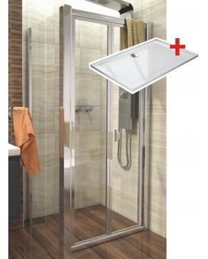 DELTA ROCKY 120x80 Clear Well Sprchový kout se zalamovacími dveřmi a mramorovou vaničkou