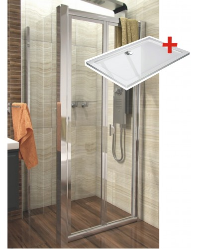 DELTA ROCKY 110x70 Clear Well Sprchový kout se zalamovacími dveřmi a mramorovou vaničkou