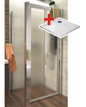 DELTA ROCKY 80x80 Grape Well Sprchový kout se zalamovacími dveřmi a mramorovou vaničkou