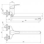 A10 30 10/100 Slim Dřezová nástěnná baterie, ramínko ploché 300 mm