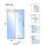 NOX 100 L Well Luxusní Sprchové dveře posuvné na rolnách