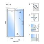 NOX 140 P Well Luxusní Sprchové dveře posuvné na rolnách