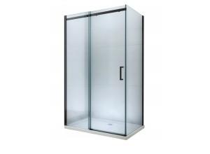 ORESTE COMBI 130x90 BLACK Clear Well Sprchová zástěna s posuvnými dveřmi