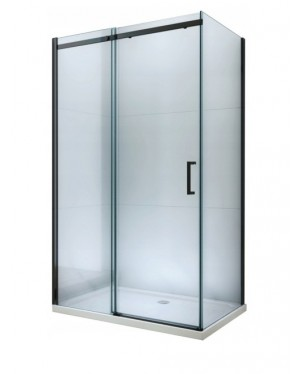 ORESTE COMBI 140x90 BLACK Clear Well Sprchová zástěna s posuvnými dveřmi