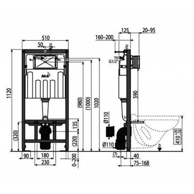 A102+M70 Jádromodul AlcaPLAST kompletní instalační set