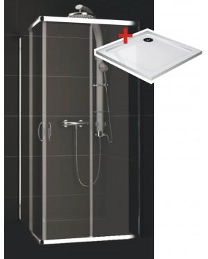 KATY Q 80 clear ROCKY Well Čtvercová sprchová zástěna s mramorovou vaničkou