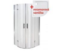 NORWICH 90 Clear MRAMOR Well Luxusní sprchový kout s mramorovou vaničkou