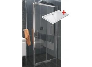 NICOL ROCKY 100x70 čiré Well sprchová zástěna obdélníková s mramorovou vaničkou
