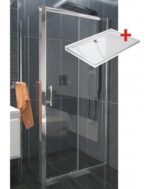 NICOL ROCKY 100x80 čiré Well sprchová zástěna obdélníková s mramorovou vaničkou