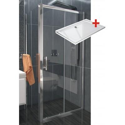 NICOL ROCKY 110x90 čiré Well sprchová zástěna obdélníková s mramorovou vaničkou