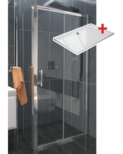 NICOL ROCKY 110x70 čiré Well sprchová zástěna obdélníková s mramorovou vaničkou