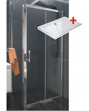 NICOL ROCKY 100x80 grape Well sprchová zástěna obdélníková s mramorovou vaničkou