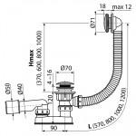 A504CKM AlcaPlast Vanový odtokový komplet click clack kov chrom, délka 57 cm