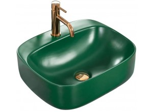 LARI 50 green Well Umyvadlo na desku s otvorem pro baterii, mat