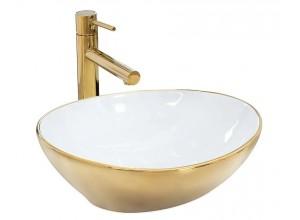 SATUR gold+white Umyvadlo na desku - lesk