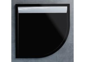 WIR 55 080 50 154 Sprchová vanička čtvrtkruhová 80 cm černá, kryt aluchromový