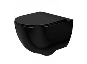 CURT mini RIMLESS WC mísa závěsná včetně sedátka, černá lesk