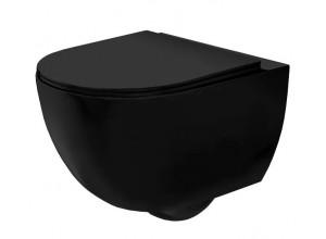 CURT mini RIMLESS WC mísa závěsná včetně sedátka, černá mat