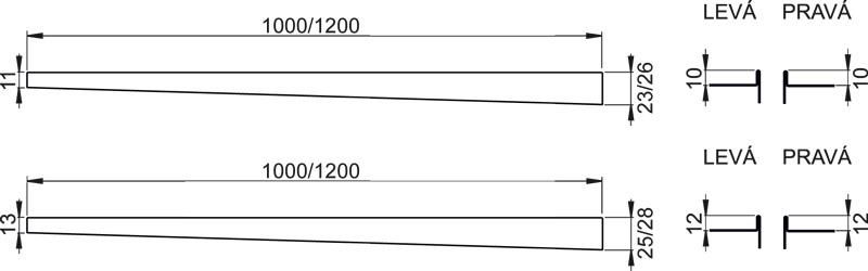 Nerezová lišta pro spádovou podlahu - pravá, matná APZ 904/1000
